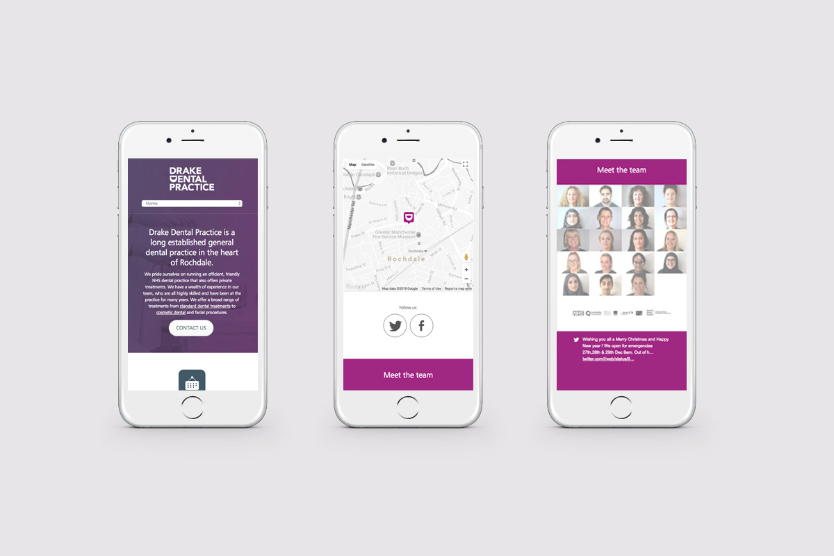 Drake Dental Practice Mobile Site Example